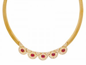 A RUBY, DIAMOND AND GOLD NECKLACE, VAN CLEEF & ARPELS