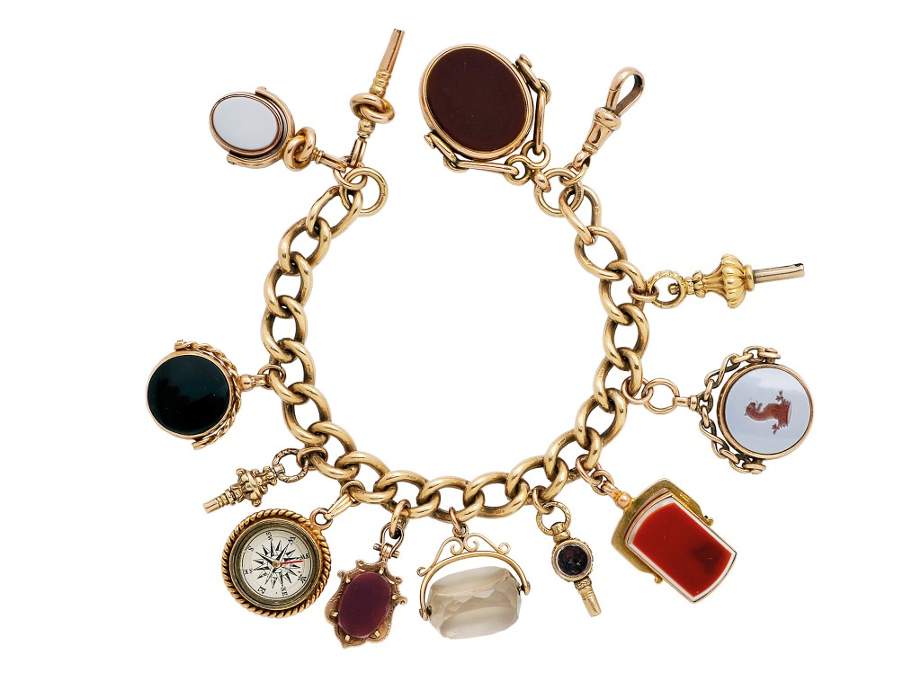 Antique bracelet with gold charms