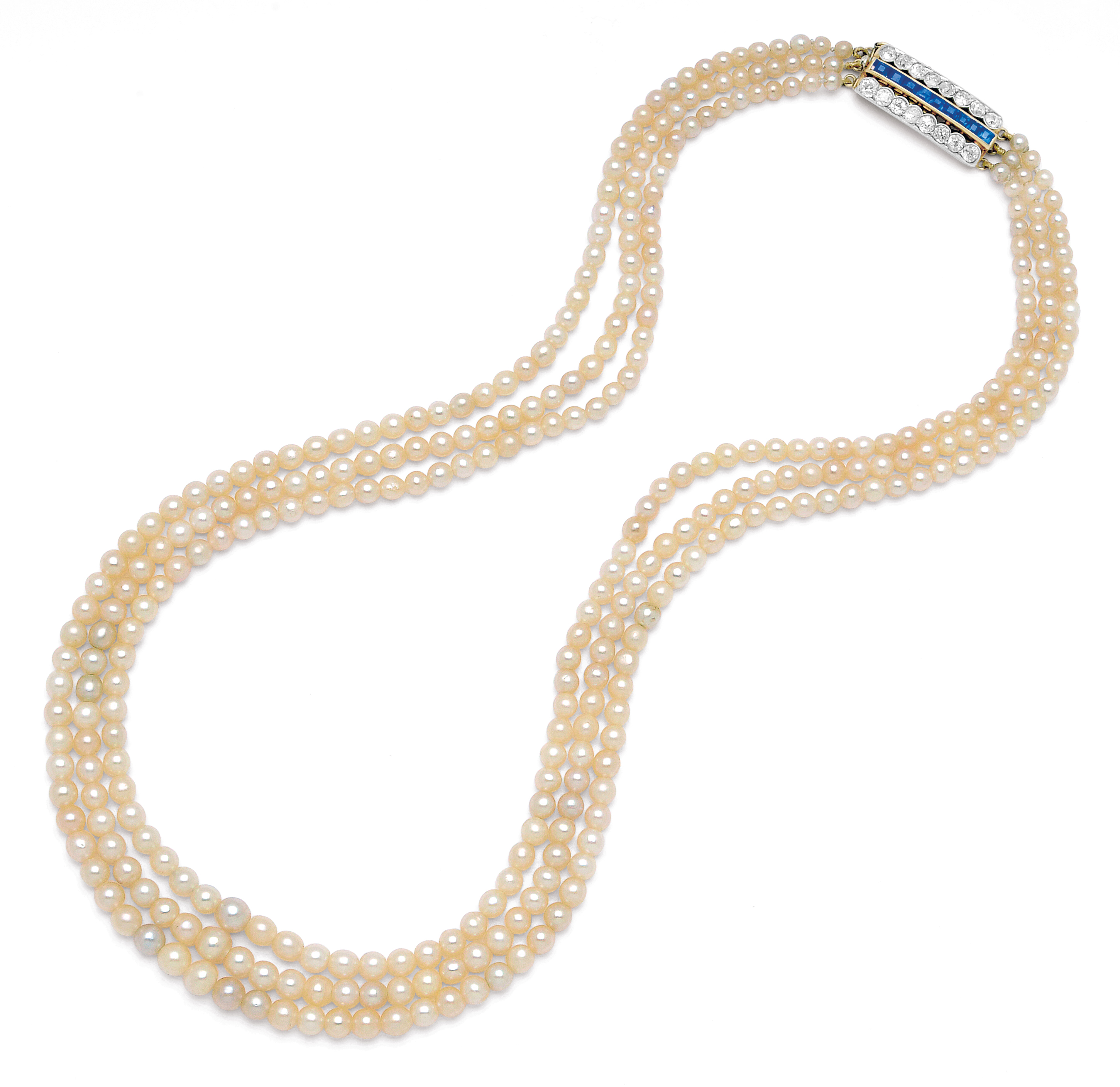 Antique Natural Pearl Sapphire and Diamond Necklace: Lot 277 Spring 2014 sale