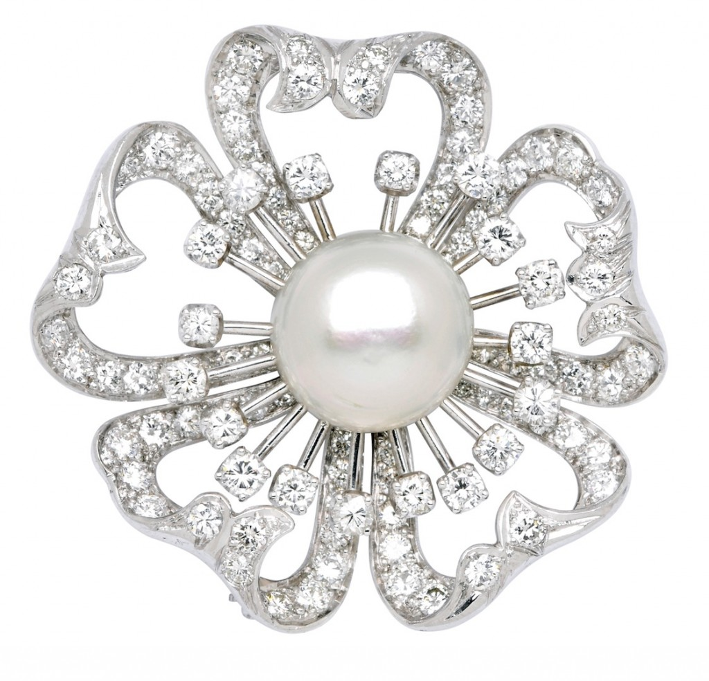 Natural Pearl Diamond and Platinum Brooch: Lot 365, Spring 2014 sale