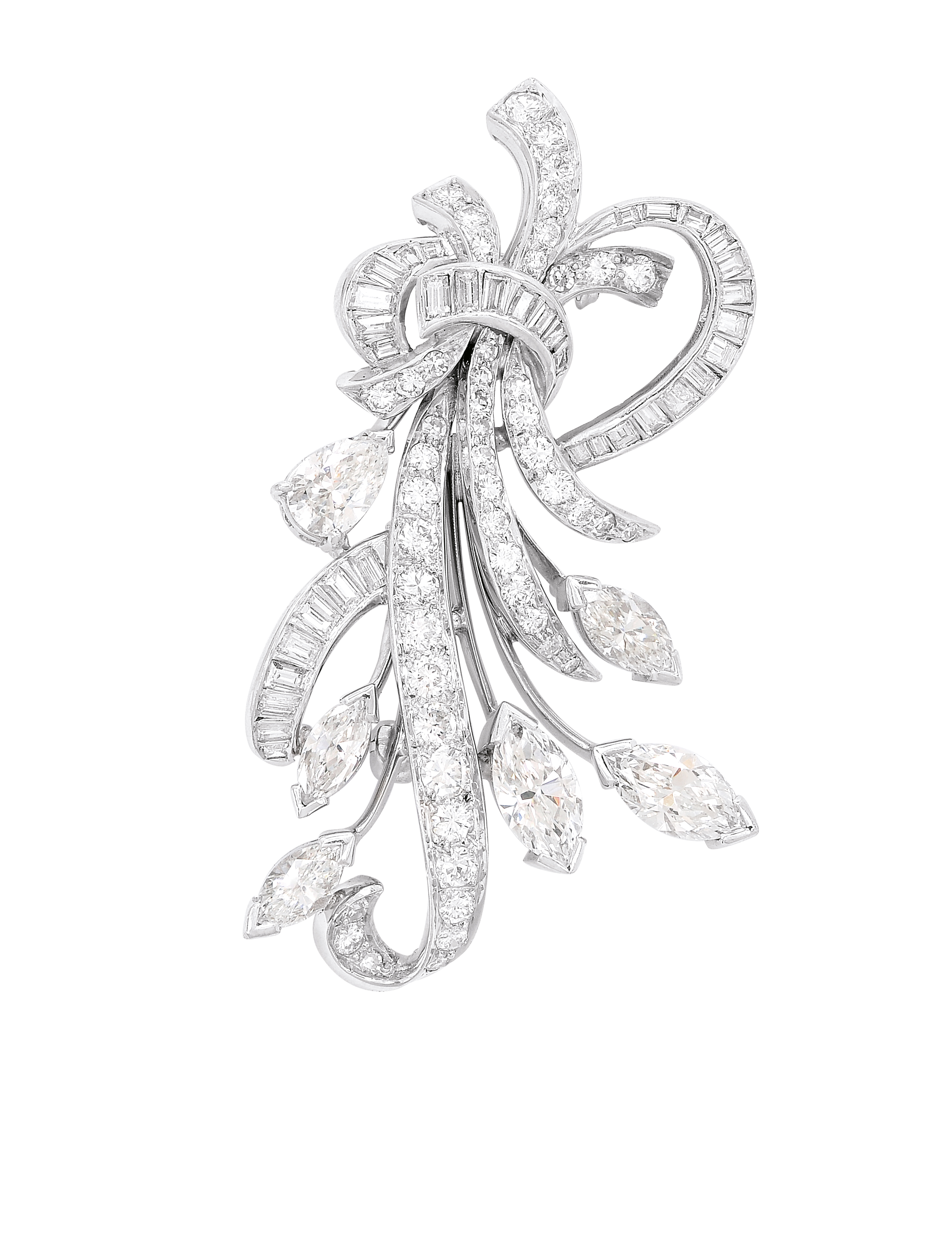 Diamond And Platinum Floral Brooch, 1960's: Lot 183, Spring 2014 sale