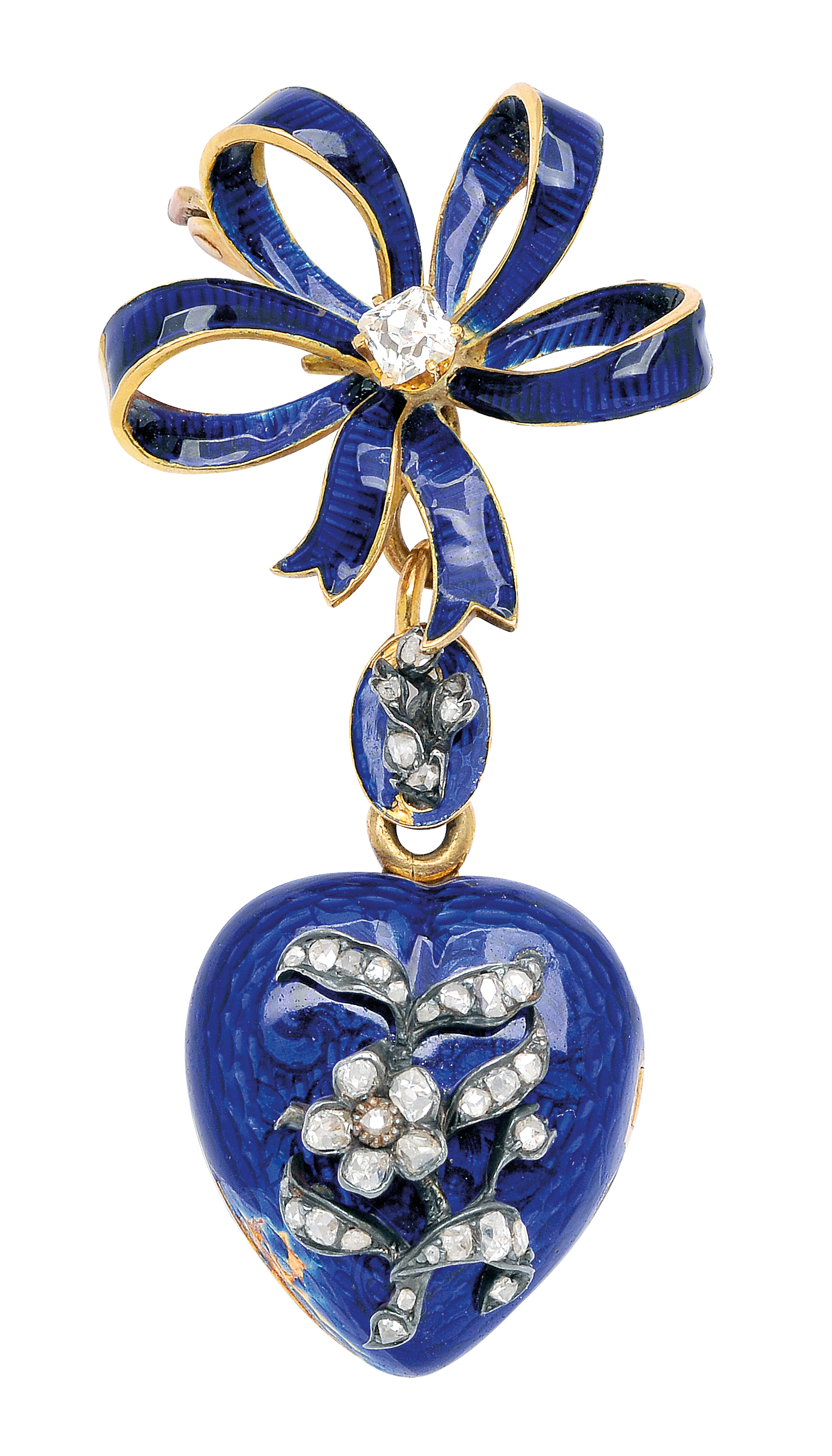Antique Enamel and Diamond Lapel Locket: Lot 264, Spring 2014 sale