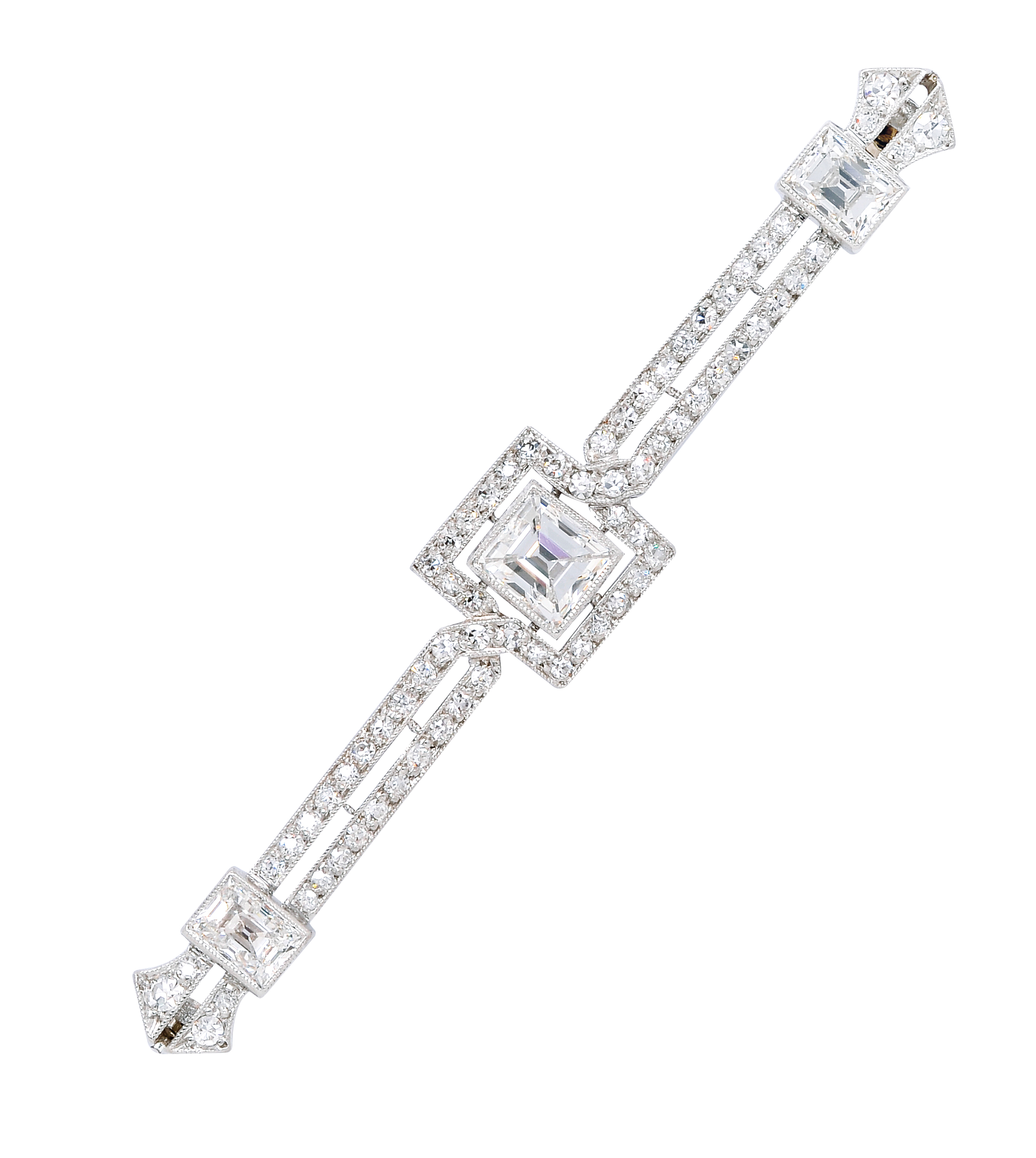 Art Deco Diamond and Platinum Bar Brooch: Lot 269, Spring 2014 sale
