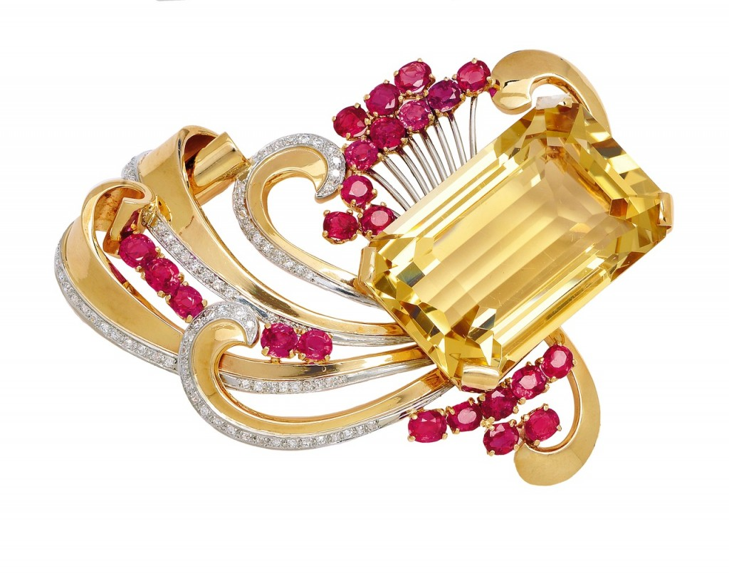 Retro Citrine Ruby, Diamond and Gold Brooch: Lot 327, Spring 2014 sale