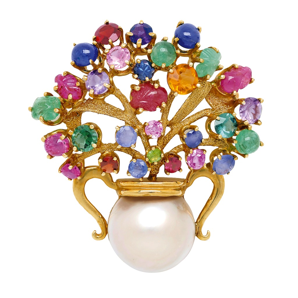 Multi Gem and Gold Floral Brooch: Lot 283, Spring 2014 sale