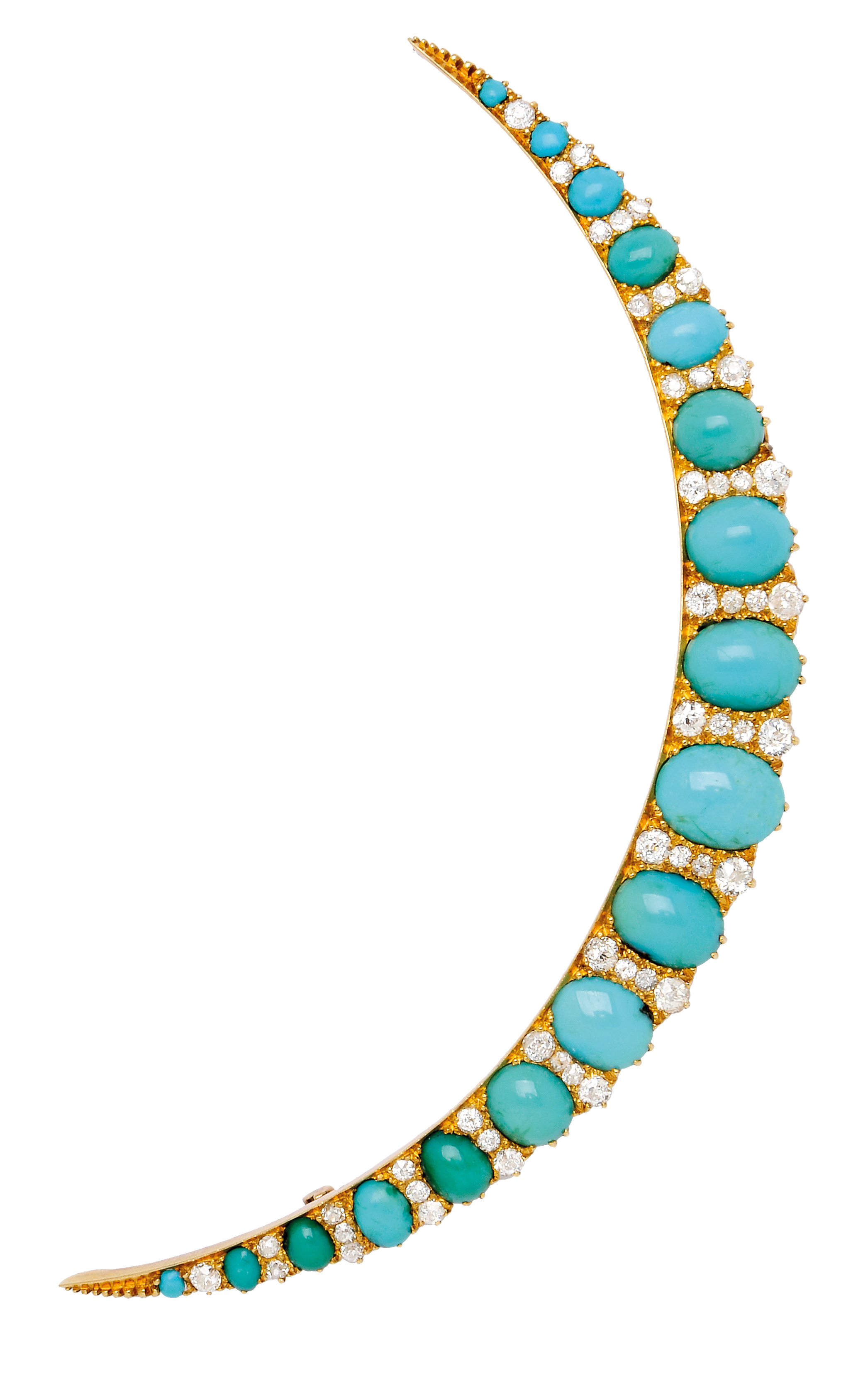 Antique Turquoise and Diamond Crescent Brooch: Lot 173, Spring 2014 sale