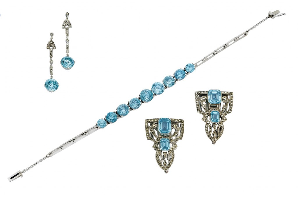 Three Blue Zircon Jewels, Including Dress Clips: Lot 228 Spring 2014 sale