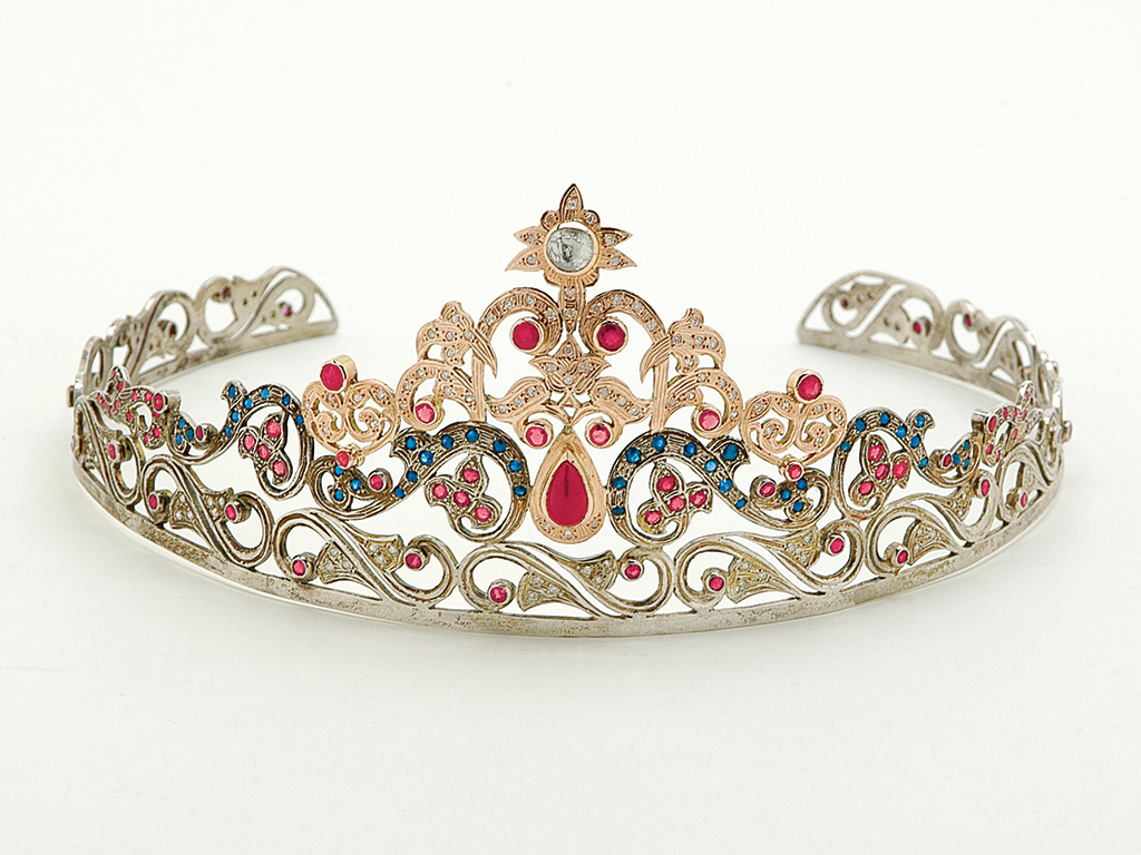 Modern reproduction ruby, diamond and sapphire tiara