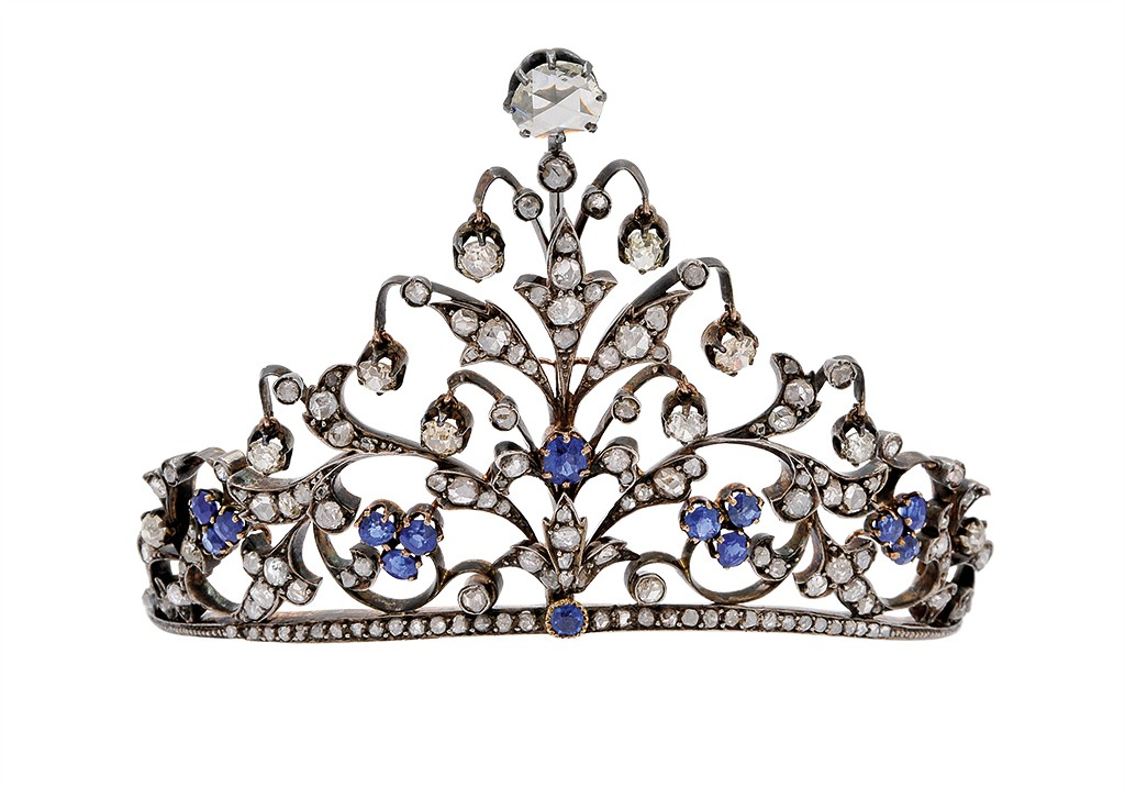 Small sapphire and diamond head top tiara
