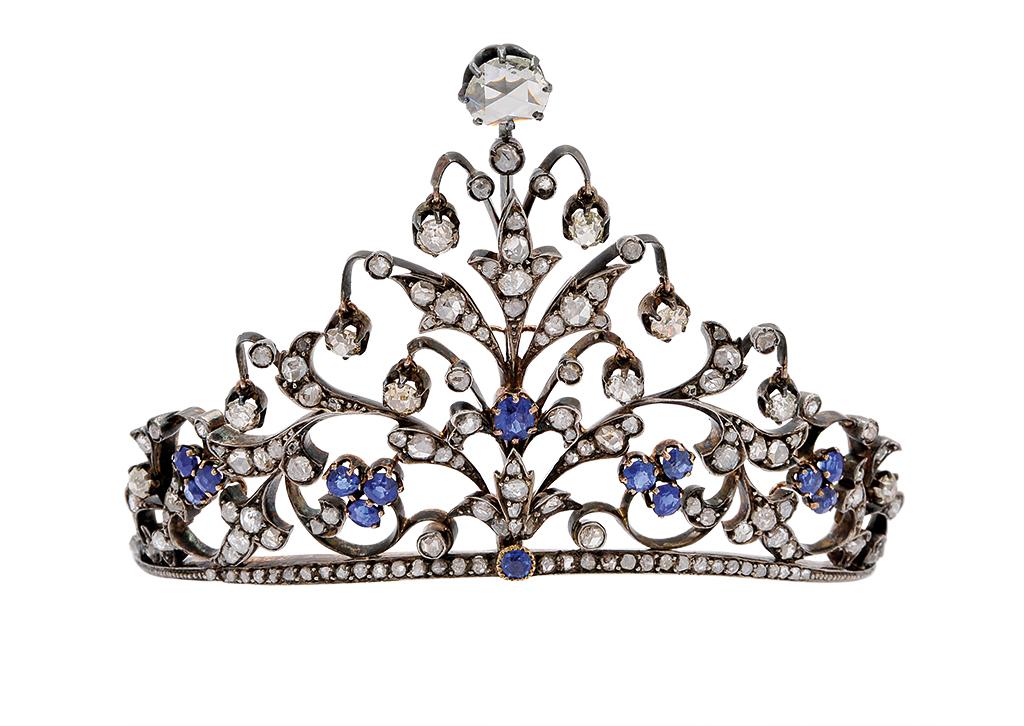Small sapphire and diamond head top tiara