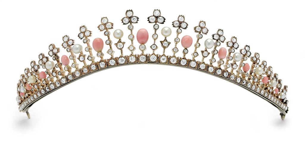 Conch pearl and diamond tiara