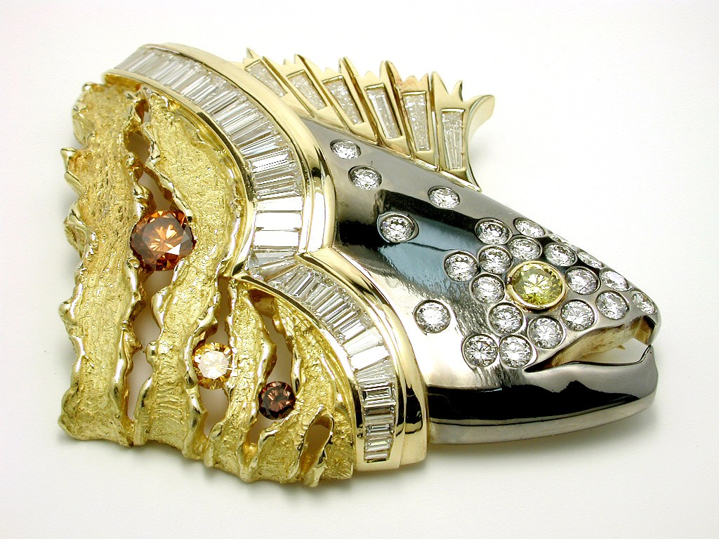 Award Winning jewels: Jane Parker seejane draw design Diamonds International Winner Speckled Trout